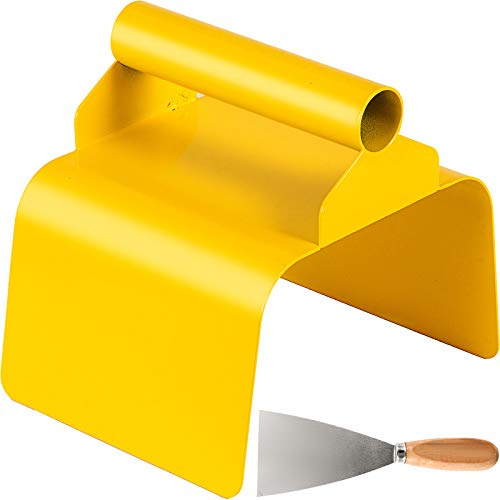 """VEVOR Landscape Curb Trowel Stainless Steel Concrete Curbing Trowel 4"""" x 6"""" x 4"""" Concrete Curb Tool Rectangle Edger Yellow Cement Model Tools with Handle and Putty Knife for Lawn, Garden, Pavement"""
