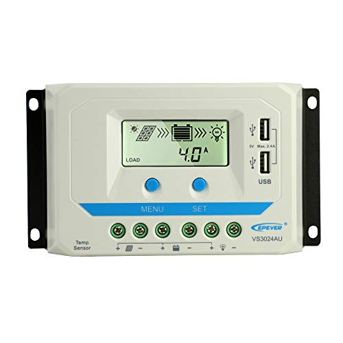 EPEVER 30A Solar Charge Controller 12V 24V, Solar Panel Battery Charge Regulator with USB/LCD Display for Lead Acid(AGM Sealed Gel Flooded) Battery