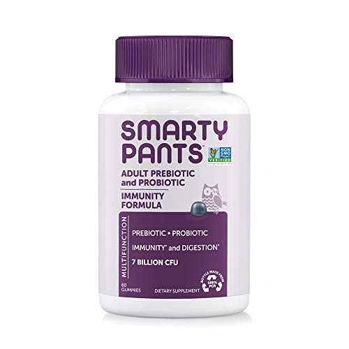 SmartyPants Adult Probiotic Formula Daily Gummy Vitamin: Gluten Free Probiotics & Prebiotics Boosting Immunity & Digestive Support*, 7 bil CFU, Blueberry, 60 Count (30 Day Supply) Packaging May Vary