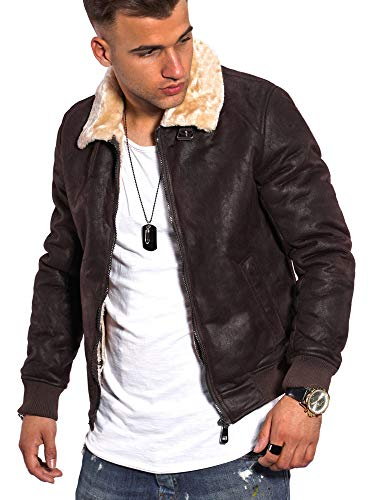 Rello & Reese Herren Kunst-Lederjacke schwarz Jacke mit Fell-Imitat Kragen Bomberjacke gefüttert PH-923 [Braun, XXL]