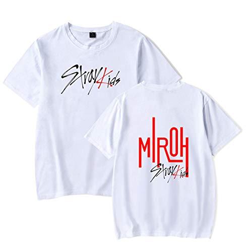 SERAPHY Unisex Stray Kids T-Shirt MIROH Unveil Tour 'I am.' in USA Shirt KPOP Kurzarm T-shirt-74-White-L