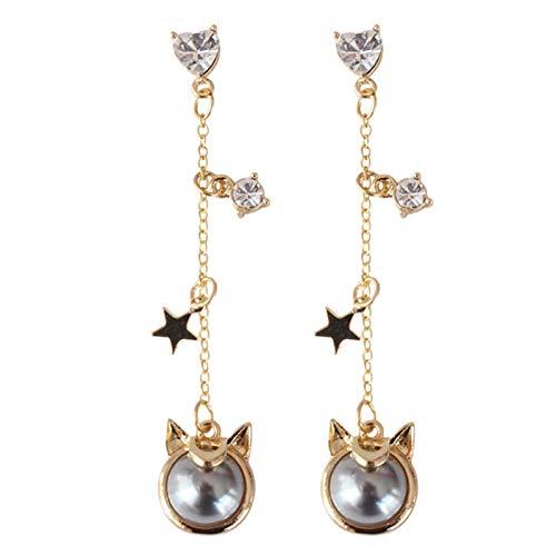 FANTESI Sailor Moon Earring Harajuku Cat Ear Stud Ear Drop Cute Dangler Anime Cosplay Accessory Prop Fans Gift(Grey)