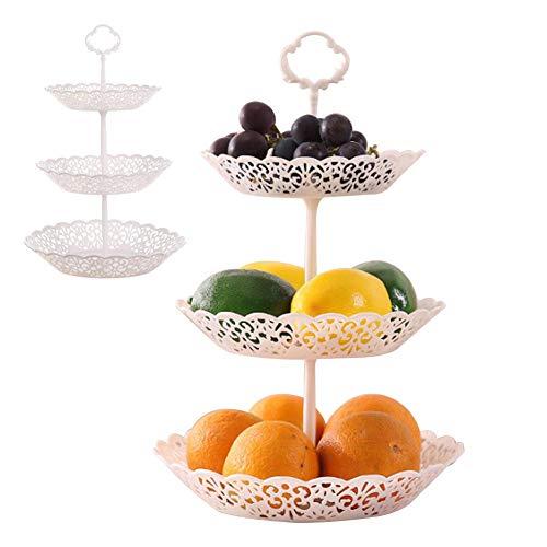 Sarplle Obstkorb 3 lagiger Süßigkeite Korb Weihnachts Deko Etagere Obstschale Obst Ständer Kuchenständer für Kekse, Trockenfrüchte, Geschenk
