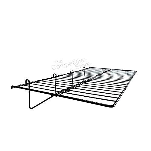 Gridwall 12' x 24' Straight Shelf Box of 3 - Black - Fits All Grid Wall Panels