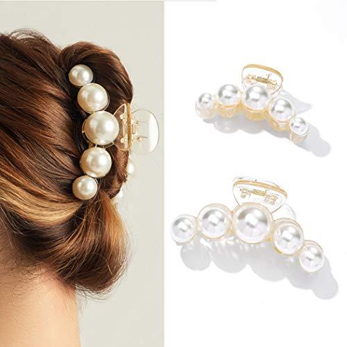 Runmi Haarklammern Schwarz Haarspangen Haarspangen Perlen Haarklammern Haarschmuck für Frauen und Mädchen (2 Stück) (D)