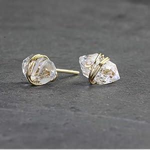 Herkimer Diamond Gold Wrapped Stud Earrings, Dainty, Minmalist