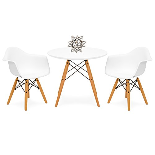 Best Choice Products Kids Mid-Century Modern Mini Multifunctional Round Table Set for Bedroom, Playroom, Dining Room w/ 2 Wood Leg Chairs - White