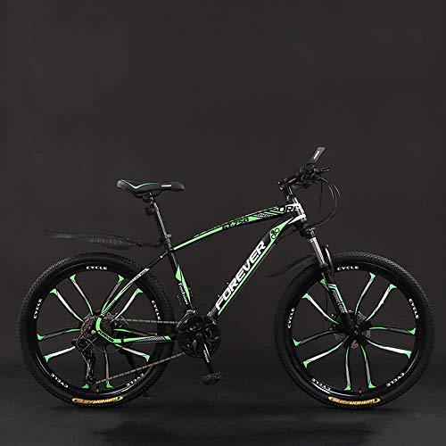 Bicicleta Bicicleta, 24 Pulgadas 21/24/27/30 Bicicletas de montaña, Velocidad Duro de la Cola de la Bicicleta de montaña, Bicicleta de Peso Ligero con Asiento Ajustable, Doble Disco de