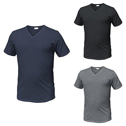 Diadora 3 t-Shirt Uomo Mezza Manica Puro Cotone Scollo a V Underwear Art. 6068 (XXL, Nero/Blu/Grigio)