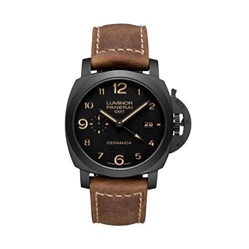 Panerai Luminor 1950 3 Days GMT Black Dial Brown Leather Mens Watch PAM00441