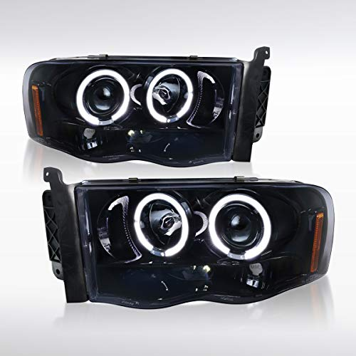 Autozensation For Dodge Ram Pickup [Glossy Black] LED Halo Projector Headlights Pair