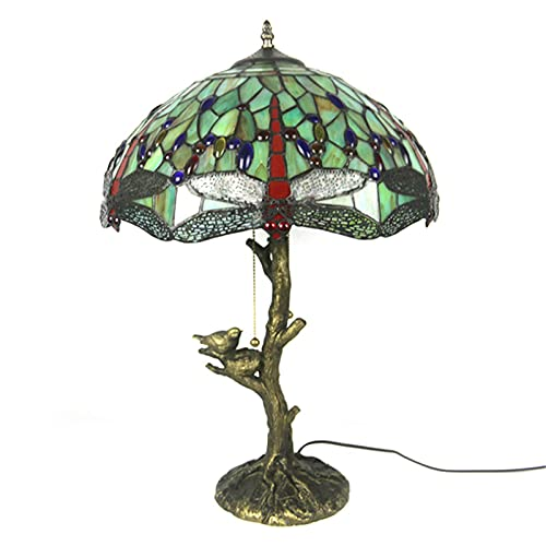 DIMPLEYA Lámpara de Mesa de libélula Tiffany 16 Pulgadas, Elegante lámpara de Mesa Retro-lacada, decore la Sala de Estar