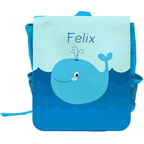 Kinder-Rucksack mit Namen Felix und schönem Motiv mit Blau-Wal für Jungen