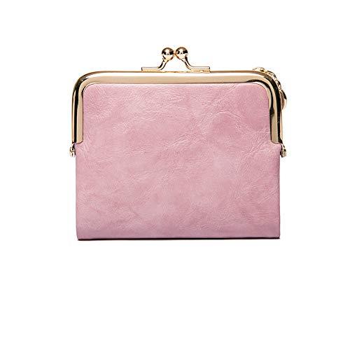 Eco Memos Cartera para Mujer, Elegante Monedero Corto con Clip, Vintage Multifuncional Monedero, Monedero de Cuero Suave para Mujer (Rosa)