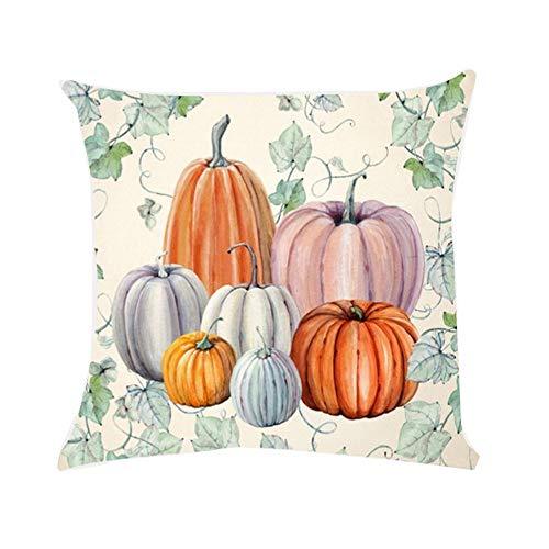 Sumeiwilly 1er Pack Halloween Kissenbezug 45x45cm Kürbis Drucken Sofa Kissen Baumwollleinen Zierkissenbezüge Dekokissen Wurfkissenbezug Lendenkissen