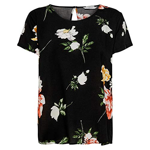 ONLY Damen ONLFIRST ONE Life SS AOP TOP NOOS WVN T-Shirt, Black, 40