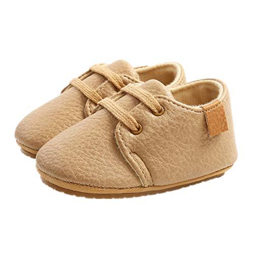 Auxm Zapatos para bebé de 0 a 18 meses, zapatos para niños y niñas, zapatos para aprender a andar, con cordones, color, talla 21 EU