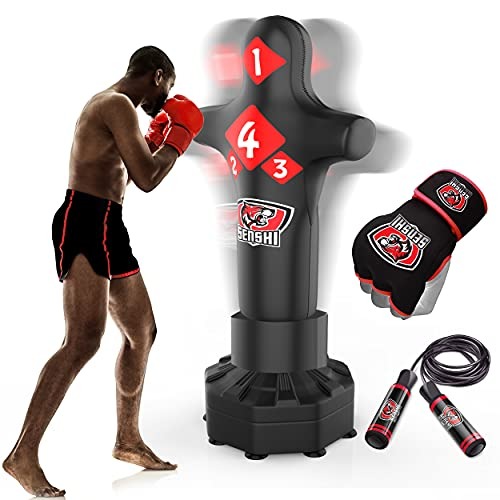 Senshi Japón 6m libre de pie torso saco de boxeo de cuero Rex–perfecto para formación y práctica–muy fácil de montar–de cuero Rex acero–La mejor saco de boxeo para artes marciales Mua