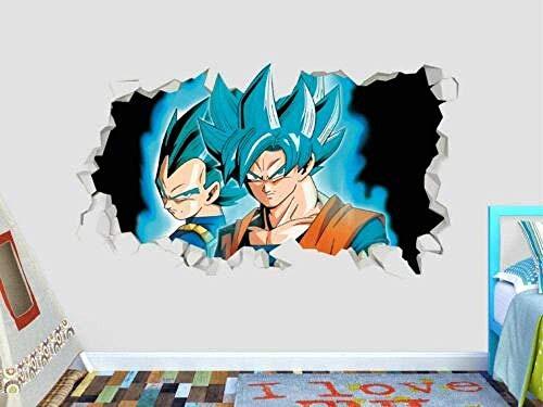QULIN 3D Look Wandtattoo Wandaufkleber Dragon Ball Z Sun Goku Begida Blauer Wandtattoo Kids Smashed 3D Sticker Art Vinyl (40 * 60Cm)