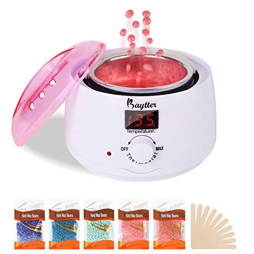 Wachs Haarentfernung Wachswärmer Set | Hausmelo Wax Enthaarung | Waxing Warmer elektrischer Wachserhitzer Wachsgerät mit 5*100g Wachsbohnen + 10 Holzspateln + 30°C-135°C LCD Temperaturanzeige, 500ml