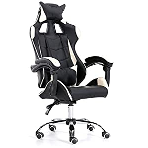 Yang baby Gaming Chair, High Back Office Chair Silla de Escritorio Racing Chair Silla reclinable Computer Chair Silla giratoria PC Chair (Color : Black)