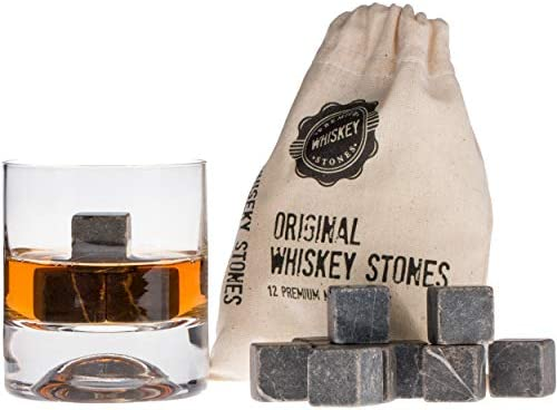Premium Whiskey Stones Gift Set with 12 Pcs Stones and Bag Whiskey Bourbon Cognac Scotch Gin product image