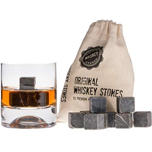 Pietre di Whiskey Premium, 12pz di Marmo e Sacchetto. Whiskey, Bourbon, Cognac, Scotch, Gin, Vino. Cubetti di Marmo Riutilizzabili. Regalo di Compleanno per gli Amanti del Whiskey.