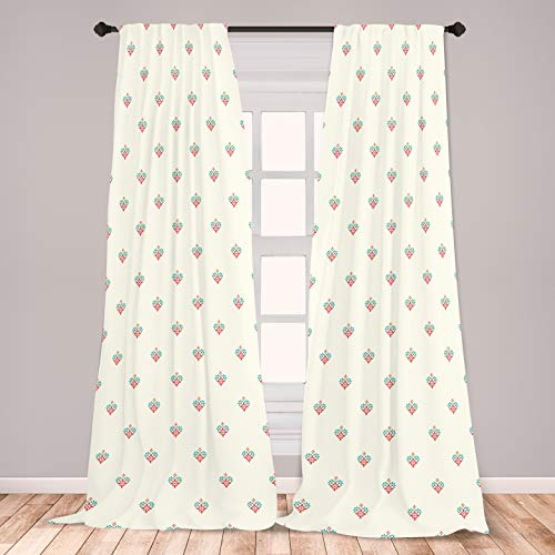 """Ambesonne Simple Flower Curtains, Little Floral Ornaments with Vibrant Petals Old Fashioned Country Style, Window Treatments 2 Panel Set for Living Room Bedroom Decor, 56"""" x 95"""", Beige Teal"""