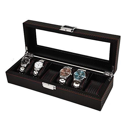 Caja de reloj Fibra de carbono PU 6 Relojes ranuras negro muestra...