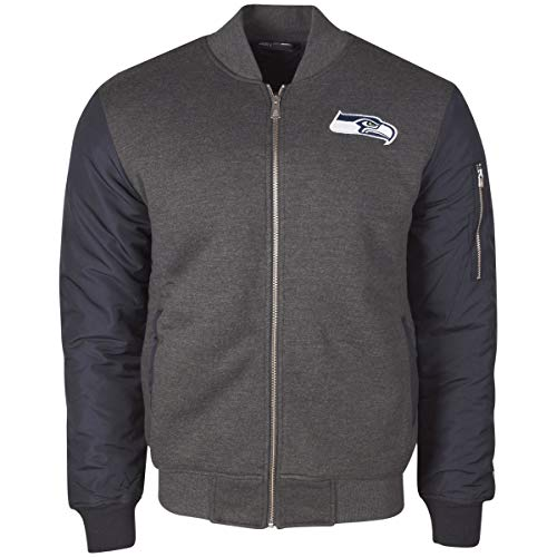 New Era - NFL Seattle Seahawks Fleece Bomber Jacke - Grau-Blau Größe M