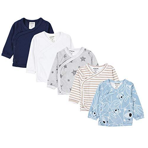 TupTam Baby Jungen Langarm Wickelshirt Baumwolle 5er Set, Farbe: Mehrfarbig 7, Größe: 50