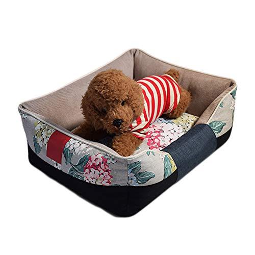 正方形のキャンバスペットの巣、健康的で環境にやさしい、静電気防止、洗濯可能、耐摩耗性、噛み付き防止ペットベッド,S