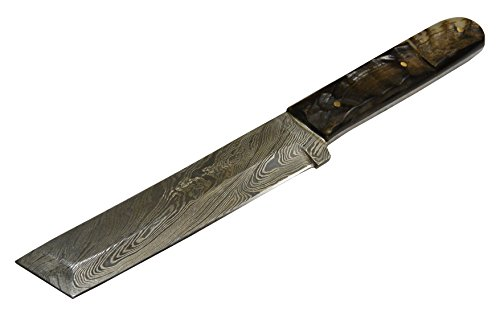 "Texan Knives Damascus Steel Fixed Blade Knife with Sheep's Horn Handle, 9"" L, Tanto Style"