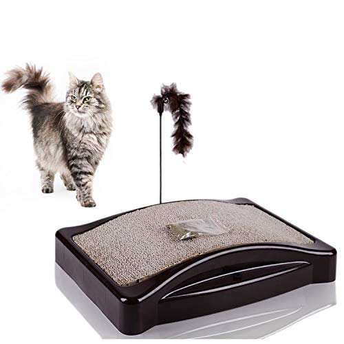 MW Cat Scratcher Carboard, Cat Scratching Post with Catnip, Corrugate Scratch Bed for Small and Large Cats