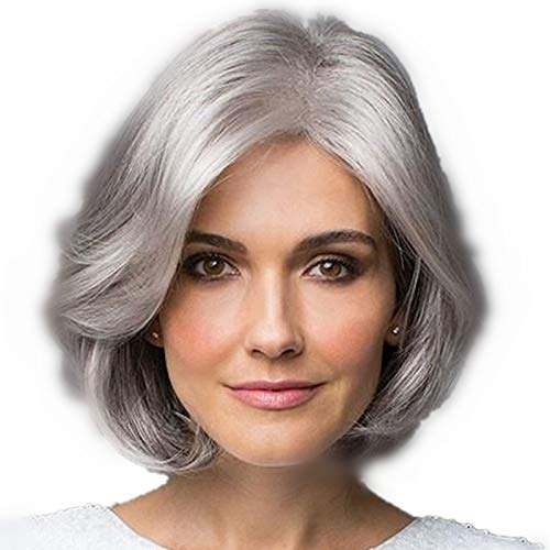 Perruque Femme Older Women Short Curly Wavy Wig Synthetic Hair Heat Resistant Natural Looking As Real Hair Wigs for Daily Use with Free Wig Cap