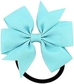WENPINHUI 3.15 Inch Girl Boutique Grosgrain Ribbon Bow Elastic Hair Tie Rope Hair Band Bows with Kids Hair Accessories (Co...