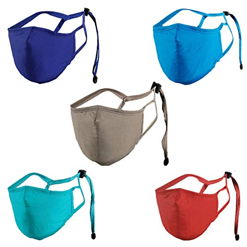 Watopi - 5 unidades, ajustables y lavables, de algodón, color sólido, multiusos, antipolvo, resistente al viento, almohadillas protectoras faciales