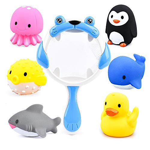 Sotodik Baby Bath Toys 6PCS Bathtub Squirter Toys and 1PCS Scoop Nets Water Toys Bathroom Pool Beach Game Toys for Kids (Blue)