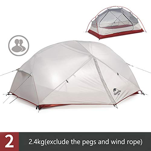 Mongar 2 Person Ultralight Camping Tent 210T Double-layer Tent Waterproof 3 Season Tent for Outdoor Beach Travel Backpacking Cycling Hiking (Gray) NH18M010-J