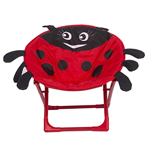 19' Portable Kids Folding Saucer Padded Moon Chair, Papasan Chair for Children/Toddler/Lounge/Furniture/Camping/Pets Seat - Ladybug