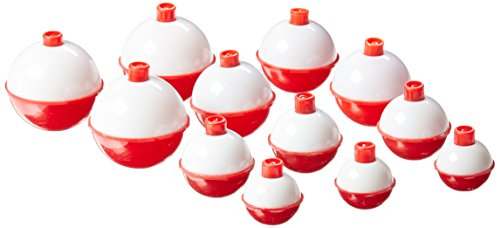 """Eagle Claw Snap-On Round Floats, 12 Floats, Assorted Sizes 1"""" to 1-3/4"""", Red/White, Model Number: 07030-001"""