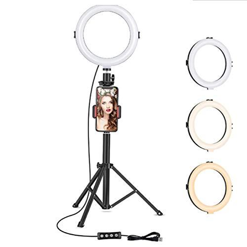 QAVILFLY Anillo de luz para selfie, 8 pulgadas con soporte para trípode, para transmisión en vivo/maquillaje/vídeo, trípode extensible y soporte para teléfono con luces LED