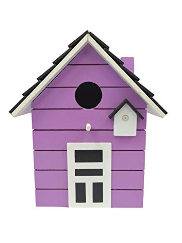 CasaJame Wooden Bird House for Balcony and Garden, Nesting Box, Purple, House for Birds, Bird House, 20 x 17 x 12 cm