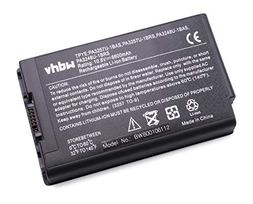 vhbw Li-Ion Akku 6600mAh (10.8V) für Notebook Laptop Toshiba Tecra S1 wie PA3248, PA3248U-1BAS, PA3248U-1BRS, PA3257, PA3257U-1BAS, PA3257U-1BRS.