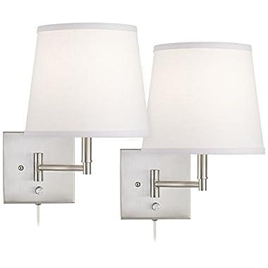 Lanett Brushed Nickel Swing Arm Plug-In Wall Lamp Set of 2