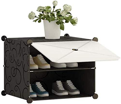 LIUYULONG Taburete cambiador de zapatos zapatero modular estantería de plástico de 2 niveles para pasillo de almacenamiento, gabinete a prueba de polvo, montaje de bricolaje zapatero escaparate