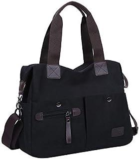 Eshow Damen Umhängetasche Handtasche Schultertasche Canvas Segeltuch mit Handgriff Anti diebstahl Fächern Schwarz zu Einka...