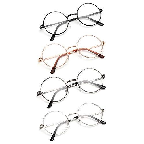4 Stueck Damen Herren Lesebrille Rund Retro +2.5 (60-64 Jahre) Klar Linse Metall Rahmen Presbyopische Gläser Nerdbrille
