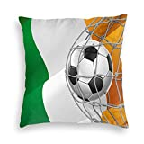 Papalikz Velvet Soft Decorative Square Accent Throw Pillow Covers Cushion Case,Sports Theme Soccer Ball In A Net Game Goal with Ireland National Flag Victory Win,for Sofa Bedroom Car, 18 x 18 Inches