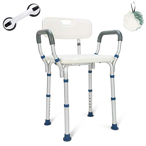 GreenChief Heavy Duty Shower Chair with Arms and Back - Tool Free - Bathtub Seat with Handles for Seniors, Elderly, Disabled & Handicap- Adjustable Medical Shower Stool Spa Seat for Bariatrics 300Lb